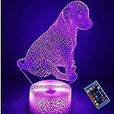 Ilusión óptica 3D Perro Mascota Luz de Noche 16 Colores que Cambian Control Remoto USB Poder Touch Switch Decor Lámpara LED Mesa Lámpara Niños Juguetes Cumpleaños Navidad Regalo
