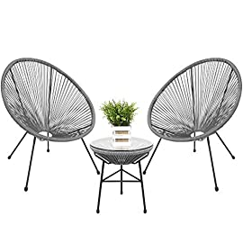 Best Choice Products 3-Piece Outdoor Acapulco All-Weather Patio Conversation Bistro Set w/Plastic Rope, Glass Top Table… 11 3-PIECE OUTDOOR ACAPULCO SET: 2 comfortable armchairs for you to enjoy lounging with a loved one, as well as a round accent table with a tempered glass top to place decor, snacks, and beverages COMPLEMENTS ANY OUTDOOR SPACE: The trendy, transparent design and glass table top make this elegant, eye-catching bistro set the perfect fit for any porch or patio setting COMFORTABLE DESIGN: The oval Acapulco styled chairs have high-back design woven with firm yet flexible ropes that you can sink into for optimal comfort