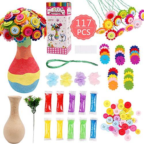 DigHealth BastelsetKinder, Craft Kit, DIYVase mit Knopfstrauß und Stoffblume für Jungen und Mädchen Alter 4 5 6 7 8 9 10 12 Jahre alt
