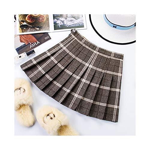 Falda plisada de verano para mujer, falda de cintura alta, falda de color negro, falda con texto en ingls 'Big Yards' (color: gris jaspeado, tamao: M)