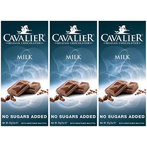Cavalier Vollmilch-Schokolade ohne Zuckerzusatz mit Maltit, Dreierpack, 3x 85g-Tafel
