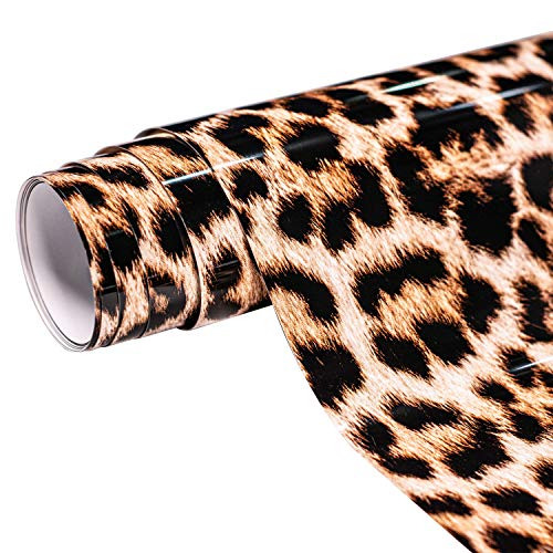 Mabende Patterned PU Adhesive Vinyl 10''x 5 FT,Iron-On HTV for T-Shirts,Garments,Leopard Print Heat Transfer Vinyl Roll Compatible with Cricut,Silhouette and Cameo Cutters (Primary Leopard Print)