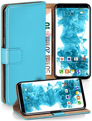moex Klapphülle kompatibel mit Samsung Galaxy S8 Hülle klappbar, Handyhülle mit Kartenfach, 360 Grad Flip Case, Vegan Leder Handytasche, Türkis