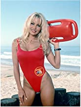 Pamela Anderson 8 inch x 10 inch Photo V.I.P. Scary Movie 3 Baywatch Wearing Red One Piece on Beach kn