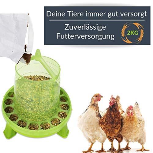Futterautomat mit Füßen, 2, 4 oder 8 Kg grün I Hühner, Geflügel Futterspender I Automatischer Spender für Hühnerfutter I Futterstation aufhängbar I Wasserdichter Automat I Zubehör Zucht, Farming - 2
