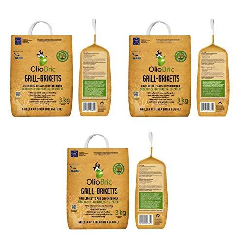 OlioBric Grill-Briketts aus Oliventrester 3X 3 kg I umweltfreundliche Oliven-Briketts - ohne giftige Zusatzstoffe I sauberes Grillen mit wenig Asche & Rauch - kaum Funkenflug I Grill-Kohle 9 kg