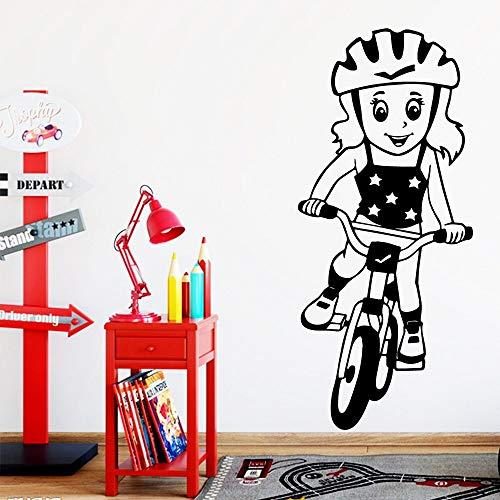 Adesivo murale per ragazza in bicicletta artistica Adesivo murale rimovibile per bambini in pvc Decorazione rimovibile per camerette A5 L 43x98cm