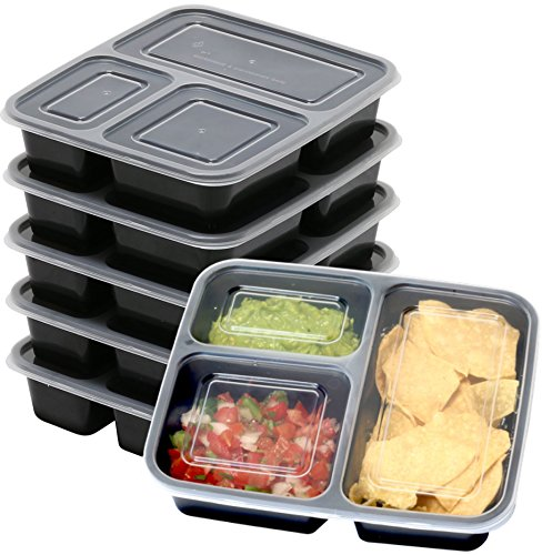 6 Pack - SimpleHouseware 3 Compartment Food Grade Meal Prep Storage Container Boxes (36 Ounces)
