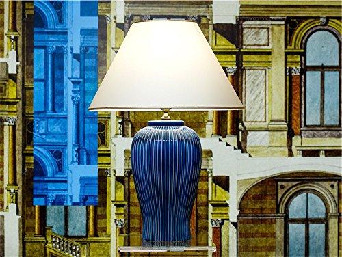Tischleuchte Lampe Nobile blu aus Keramik blau| Tischlampe E27 | Handgefertigt in Italien | Exklusive Leuchte mit 24 Karat Gold Veredelung GL7872