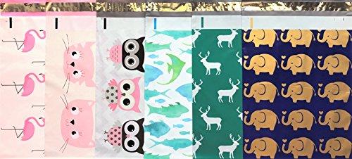 Designer Poly Mailers 10x13 : Animal Mix Pack ~ Pink Flamingo, Pink Cat, Owl, Marine Fish, Elk Deer, Gold Elephant; Printed Self Sealing Shipping Poly Envelopes Bag (30 Animal Mix Pack)