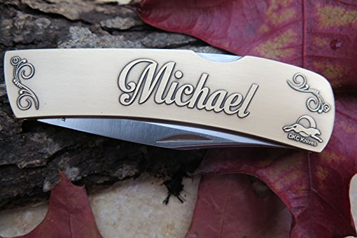 """DKC-1000-B MICHAEL Personalized Name Knife Custom Hand Engraved Minted In Antique Brass 4.5 oz 6.75"""" Long Open 2 7/8"""" Blade 4"""" Closed NAMANO MINT SERIES"""
