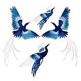 4 Pezzi Toppe Termoadesive Toppa Termoadesiva per Tessuti Fiore Phoenix Uccello Ricamo Stile Cinese Grandi Toppe Applicate per Vestiti Toppa di Riparazione e Decorazione Toppe per Adulto Bambino