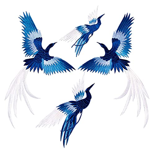 Hyxodjy Lot de 4 Patchs Stickers Vetement Thermocollant avec Phoenix Oiseau Broderie de Style Chinois Applique Big Patchs pour Jeans Vêtements Sacs à Main Casquettes Rideaux Draps Nappes