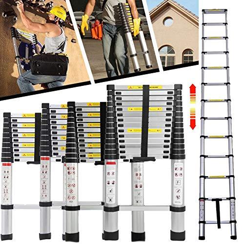 3,2m Teleskopleiter 11 sprossen Aluleiter Ausziehbar Leiter für Dachboden/Dach/Büro, Rutschfeste Stufen und Füße Mehrzweckleiter - 150 Kg Belastbar