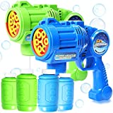 2 Set MAX Bubble Gun Blaster Toy with Extreme Bubble Blowing Safe Handheld Bubble Machine Lights Up Bubble Gun for Kids 2 Bubble Guns and 4 Refill Bubble Solutions
