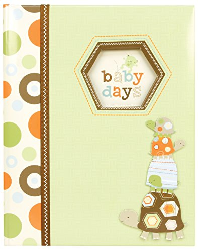 C.R. Gibson Green and Brown Turtle Baby Days Baby Memory Book for Newborns, 60 pgs, 9 W x 11.125 H