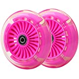 120mm 3-Wheeled Scooter Front Led Light Up Replacement Wheels, Kid Scooter Flashing Wheel Set for Micro Kickboard Mini, Maxi Deluxe, Globber Kick Scooter (Pair) (Pink)