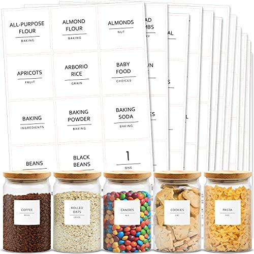 Talented Kitchen 144 Minimalist Pantry Labels Set. Black Print on White Matte Backing, Water Resistant. Spice Jars Vinyl Organization Storage. Pantry Organization System (144 Fine Line Pantry Label)