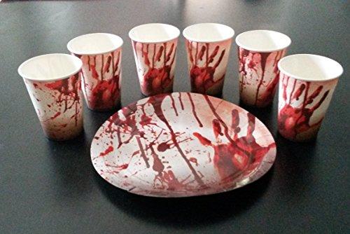 Sachsen Versand 8 Papp-Becher-Teller Halloween Tisch -Deko-Dekoration schmücken Ø 23cm Geschirr Gruseln Scream Blut Halloween