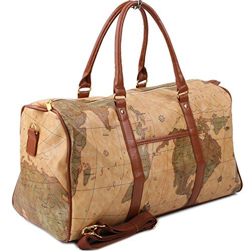 Copi World Map Large Duffle Bag Travel Tote Luggage Boston Style Khaki