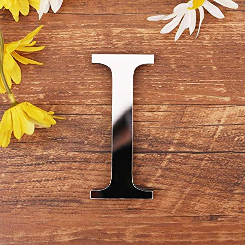 Spiegel Buchstaben Wandaufkleber, 3D DIY Kreativ Acryl 26 Alphabet Buchstaben abnehmbare Wandsticker Decals Für Wohnzimmer Schlafzimmer Wohnkultur (I)
