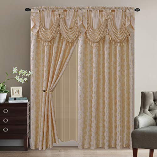 2 Jacquard Leaves Curtain Panels with Attached Valance and Sheer Curtains with 2 Tassel Tie Backs - Window Curtains for Bedroom, Living Room or Dinning Room (Beige)