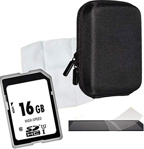 1A PHOTO PORST Set per Sony DSC-HX60, DSC-W810, DSC-W830, DSC-HX90: Custodia della fotocamera antistatica + pellicola protettiva display + 16GB scheda SD + cintura per nuoto e panno in microfibra