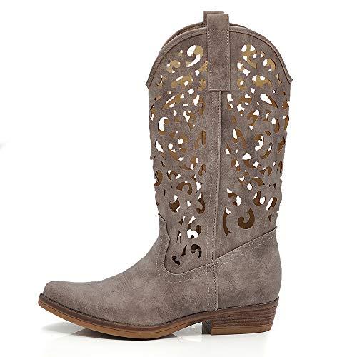 Texani - Zapatos de mujer Cowboy Western - Botas de punta de camperos étnicos DT-16 Size: 36 EU