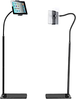 135-175cm Tall Phone Tablet Floor Stand Bedside phone stand with Flexible Gooseneck and Stable Aluminum Base Suitable for ...