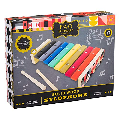 FAO Schwarz AFAO513 Natural Solid Wood 8 Color Key Xylophone Toy (3 Piece), Multicolor