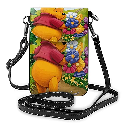 XCNGG Kleine Geldbörse Women's Small Crossbody Bag with Shoulder Strap,Winnie The Pooh and Piglet are Picking Flowers Small Cell Phone Purse Wallet with Credit Card Slots