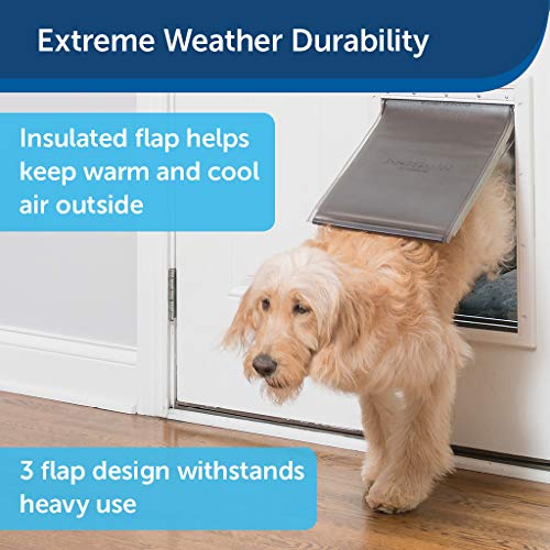 PetSafe Extreme Weather Energy Efficient Pet Door for Cats and Dogs - Insulated Flap System - Large - Plastic Frame