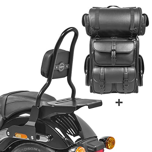 Respaldo CSM Fix + Bolsa Trasera LX para Harley Sport Glide 18-21