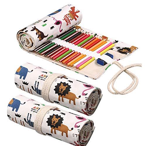 Enrollable Portalápices,Xiuyer 3pcs Portátil Plegable Lona Lápiz Color Estuche Enrollable Lápices Lona Bolso Lápices Para Artista Escuela Oficina 12+24+36 Agujeros