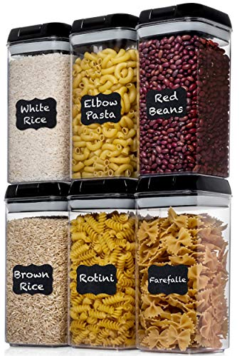 Shazo Airtight Food Storage Container (Set of 6) - BONUS Measuring Cup - Labels & Marker - Durable Plastic - BPA Free - Clear with Improved Lids (Black) - Air Tight Snacks Pantry & Kitchen Canisters