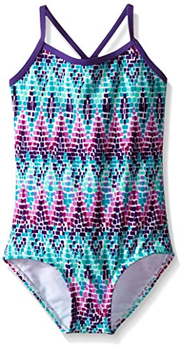 Kanu Surf Girls' Big Layla Beach Sport Banded 1 Piece Swimsuit, Candy Purple Chevron, 12