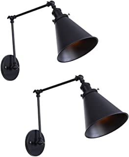 DZnNN 1 Vintage Mount Light Sconces Wall Lamp (Hardwire 2 Pack) Black Angle Adjustable Swing Arm Retro