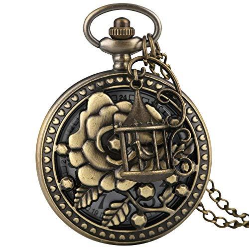 XCDM Reloj de Bolsillo Vintage, Reloj de Bolsillo de Cuarzo de Bronce...