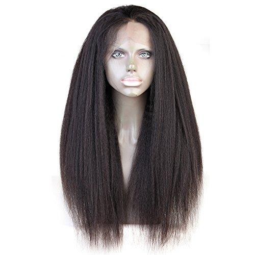 Cbwigs sans colle brésilien Remy 360 Dentelle frontale Perruque cheveux humains naturels non traités italien Yaki 360 Dentelle Perruque Couleur naturelle (30,5 cm 180% 1b)