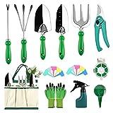 HMGDFUE Kit Jardineria, 21 Piezas kit de Jardineria Herramientas de Jardineria de Acero Inoxidable con Mango Ergonómico, Herramientas de jardín Aptas para Las Mujeres, Regalo de Jardín