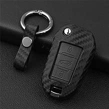 M.JVisun Soft Silicone Rubber Carbon Fiber Texture Pattern Cover For Peugeot, Car Remote Key Fob Case For Peugeot 208 301 308 508 2008 3008 Fob Remote Key - Black - Round Keychain