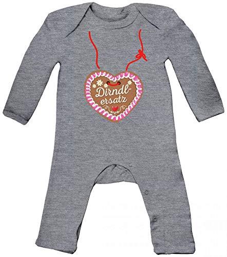 ShirtStreet Gaudi Wiesn Oktoberfest Baby Strampler Langarm Schlafanzug Jungen Mädchen Lebkuchenherz Dirndl Ersatz, Größe: 6-12 Monate,Heather Grey Melange