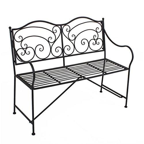 Unbekannt VARILANDO® Gartenbank aus Metall im antiken Look Rost-Optik Vintage Metallgartenbank 2-Sitzer