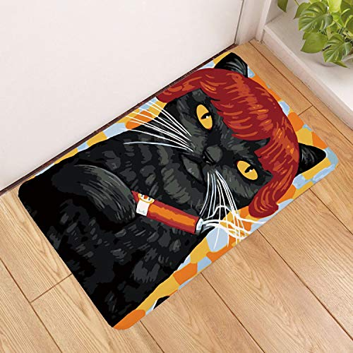 Deurmat, 3D-cartoon roken, zwarte kat, dierenprint, antislip, deurmat, welkom, slaapkamer, hal, tapijt, rechthoekig, zachte deurmat voor huis, woonkamer, keuken 40×60cm