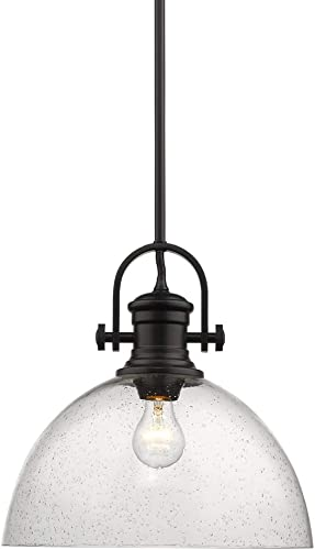 popular Golden Lighting 3118-L BLK-SD Hines Pendant, sale Matte Black with discount Seeded Glass sale