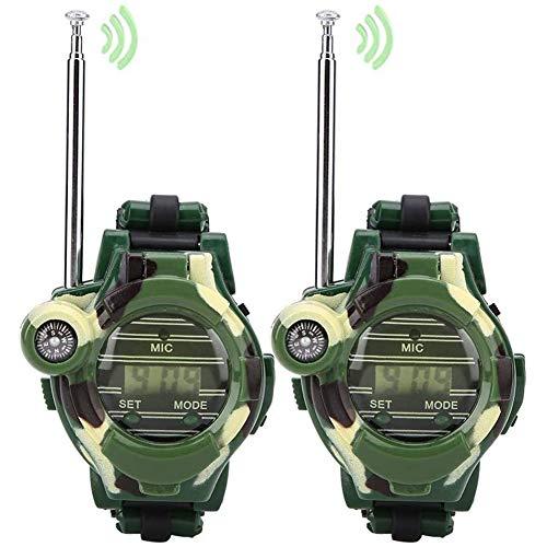 Cestbon Los niños de walkie Talkie Relojes 2 Piezas de simulación niños walkie talkies Militar Actividad al Aire Libre Juguetes Regalos para Chicos, Chicas,Verde