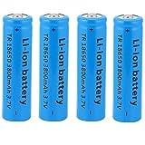 18650 Batería recargable de iones de litio de 3,7 V 3800 mAh Baterías de botón de gran capacidad para linterna LED, iluminación de emergencia, dispositivos electrónicos, etc. 4/8 piezas (azul) (4 pcs)