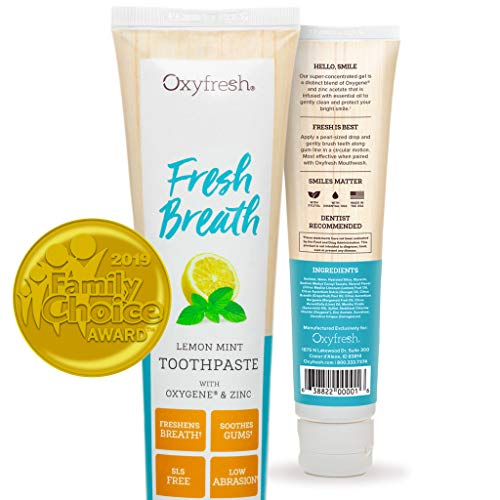 Oxyfresh Maximum Fresh Breath Lemon Mint Toothpaste – SLS Free Toothpaste w/Natural Essential Oils & Xylitol – Fluoride Free – Aids Dry Mouth – 5oz