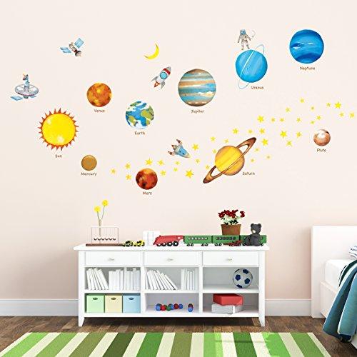 Decowall DW-1307 Sonnensystem Planeten Platz Weltraum Wandtattoo Wandsticker Wandaufkleber Wanddeko für Wohnzimmer Schlafzimmer Kinderzimmer (Mittlere) (Englisch Ver.)