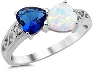 Oxford Diamond Co Heart Simulated Sapphire & Lab Created White Opal .925 Sterling Silver Ring Sizes 4-10